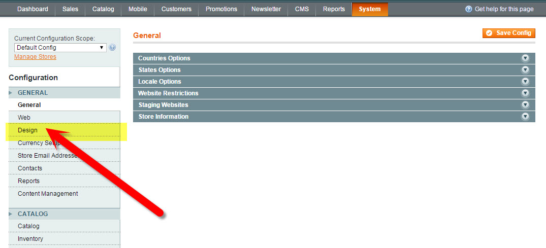 Design Tab in Magento Configuration | How to Update the Copyright Year in Magento