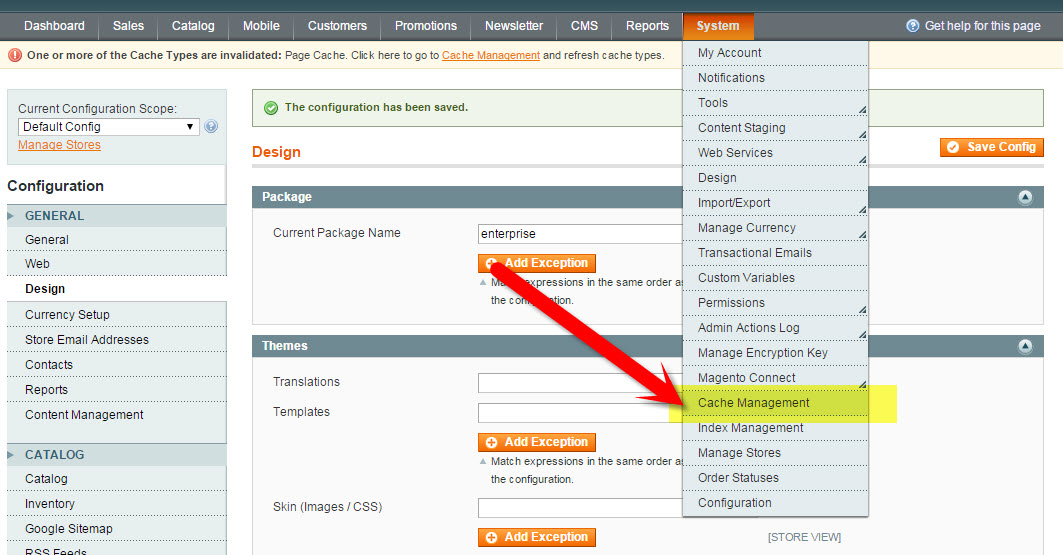 Magento Cache Management | How to Update the Copyright Year in Magento