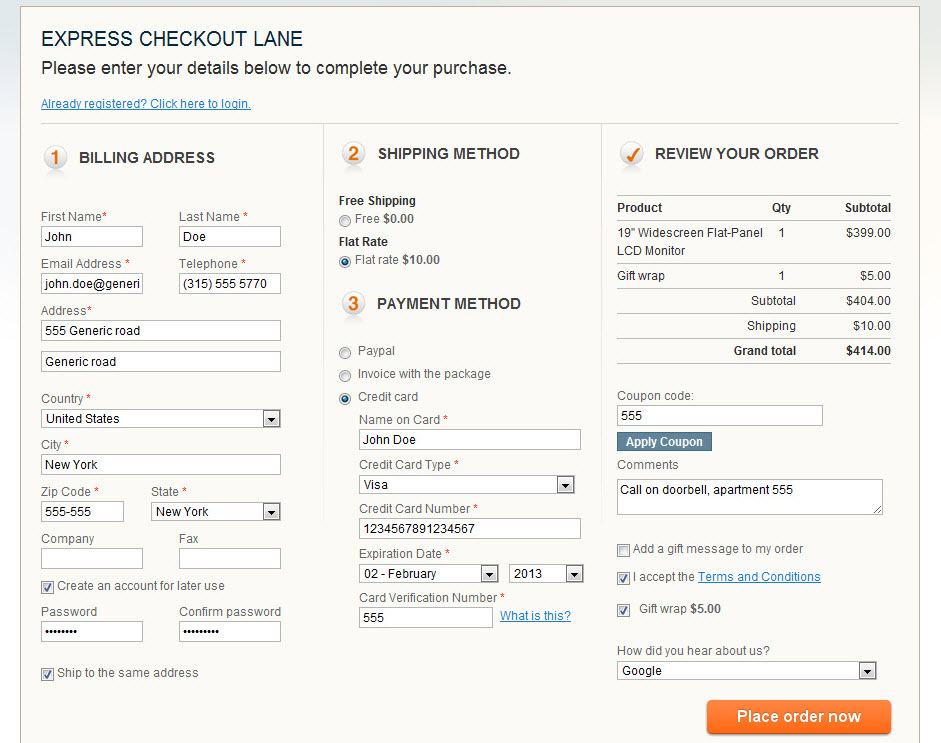 One Step Checkout for Magento